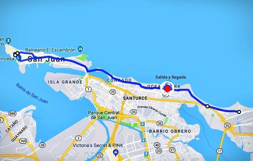Mapa de ruta de las 16 Millas de Sabrina, en donde se va y se vuelve.