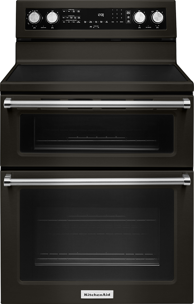 kitchen aid ovens wood table sets kitchenaid 6 7 cu ft self cleaning freestanding double oven electric convection range