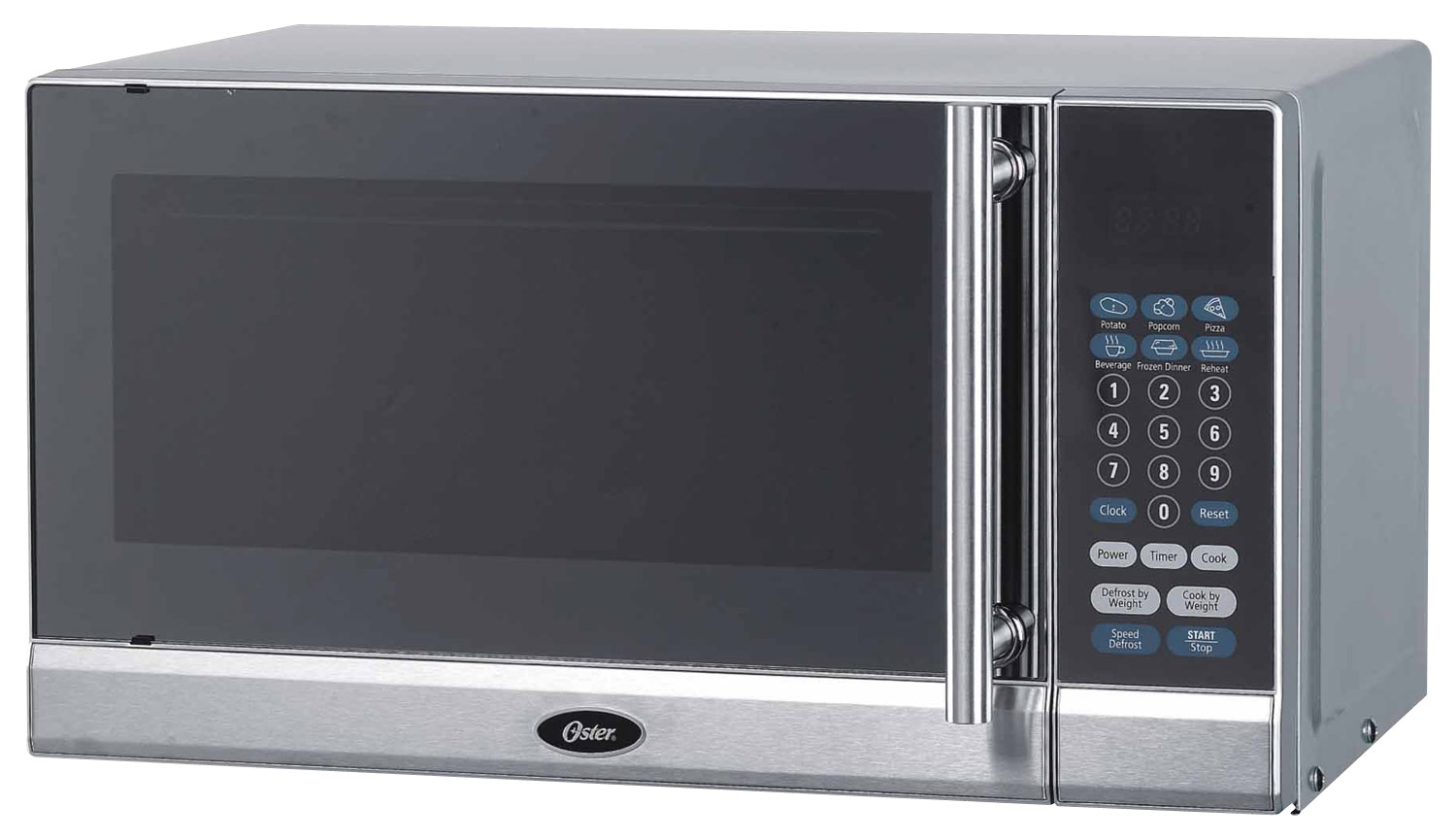 oster 0 7 cu ft compact microwave silver