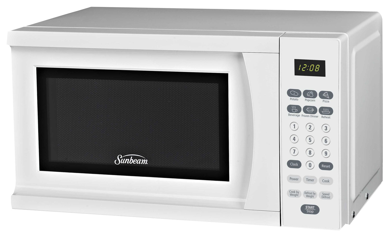 sunbeam 0 7 cu ft compact microwave white