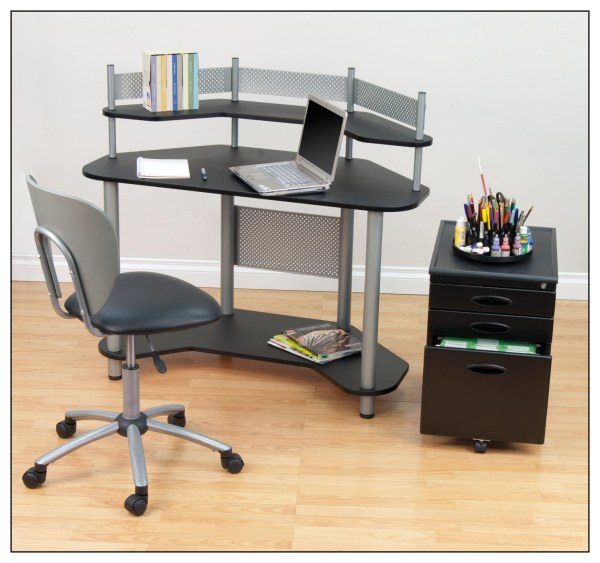 Calico Design Study Corner Computer Desk Silver Black 55123