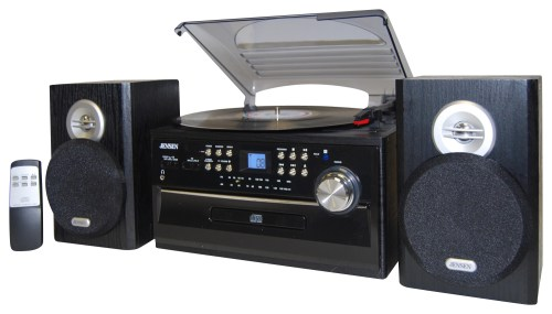 small resolution of jensen 4w cd stereo system with cassette turntable and am fm radio black jta 475b best buy