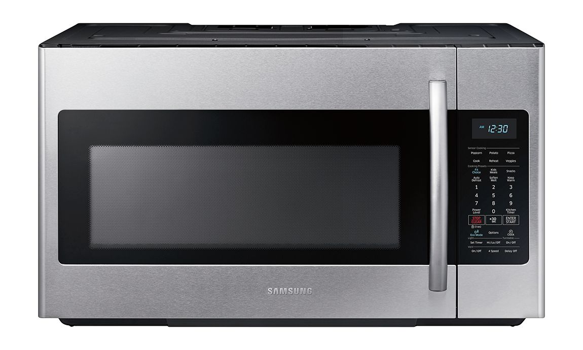 samsung 1 8 cu ft over the range fingerprint resistant microwave with sensor cooking stainless steel fingerprint resistant stainless steel