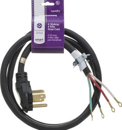 smart choice 6 30 amp 4 prong dryer cord with eyelet terminals black 5305510955 best buy [ 910 x 1000 Pixel ]