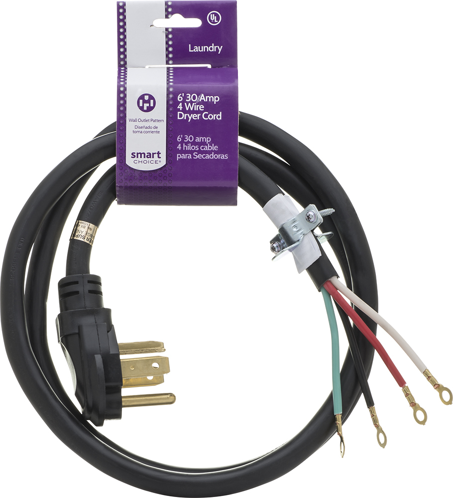 medium resolution of smart choice 6 30 amp 4 prong dryer cord with eyelet terminals black 5305510955 best buy