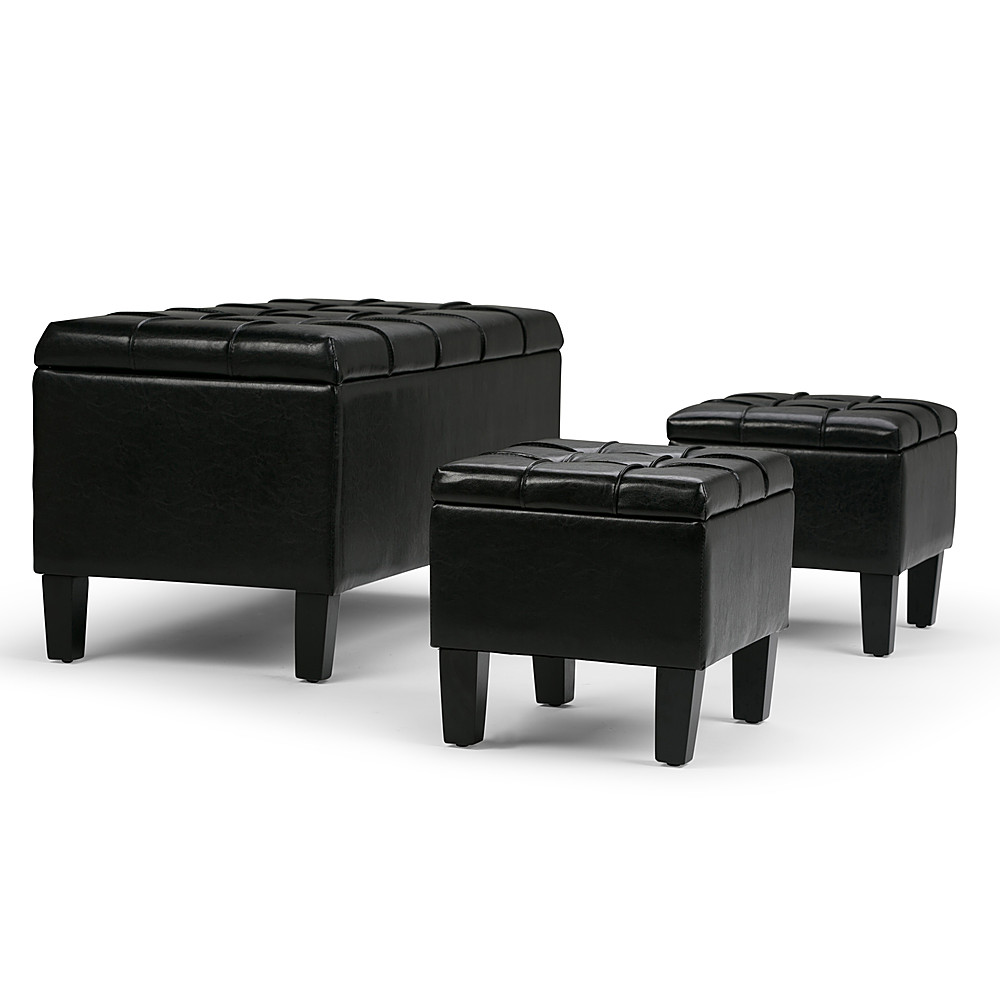 Simpli Home Dover Rectangular Faux Leather Storage Ottoman Bench Set Of 3 Midnight Black Axcot 238 Bl Best Buy