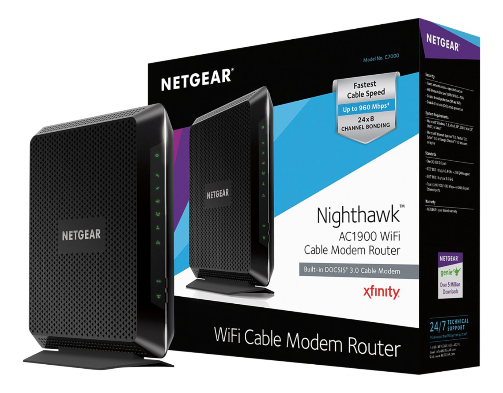 hight resolution of netgear nighthawk dual band ac1900 router with 24 x 8 docsis 3 0 cable modem black c7000 100nas best buy