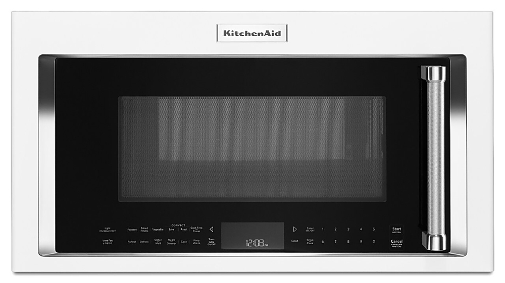 kitchenaid 1 9 cu ft convection over the range microwave with sensor cooking white