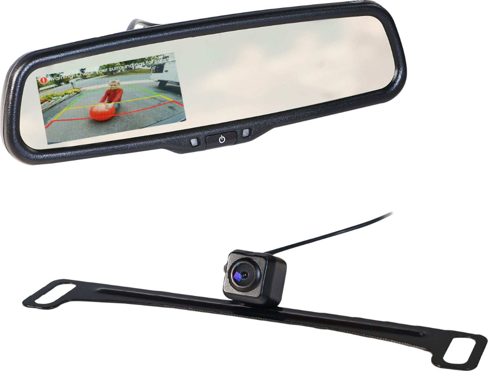 hight resolution of echomaster rear view mirror back up camera kit black mrc lp01cp best buy