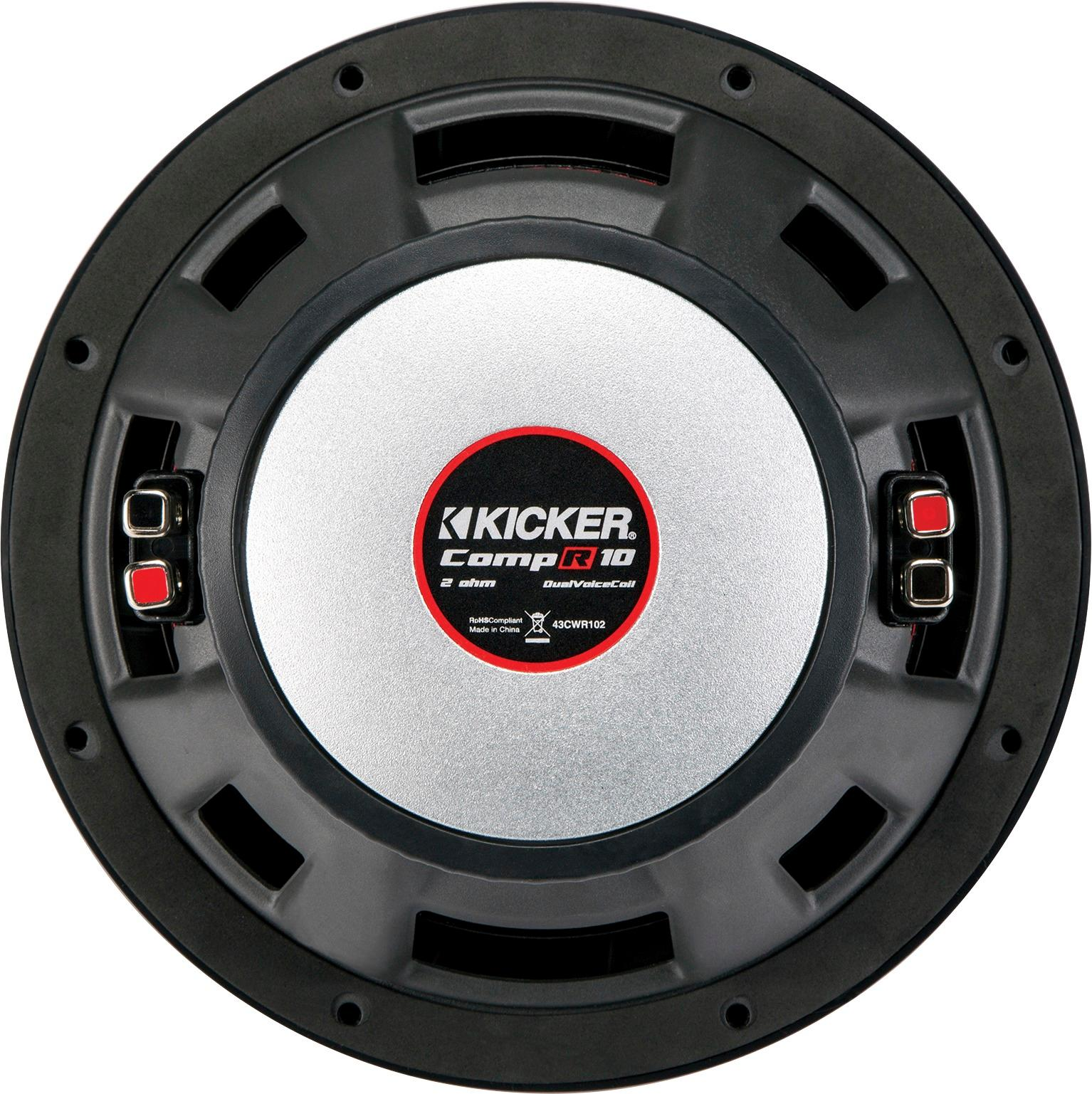 hight resolution of kicker compr 10 dual voice coil 2 ohm subwoofer black 43cwr102 best buy