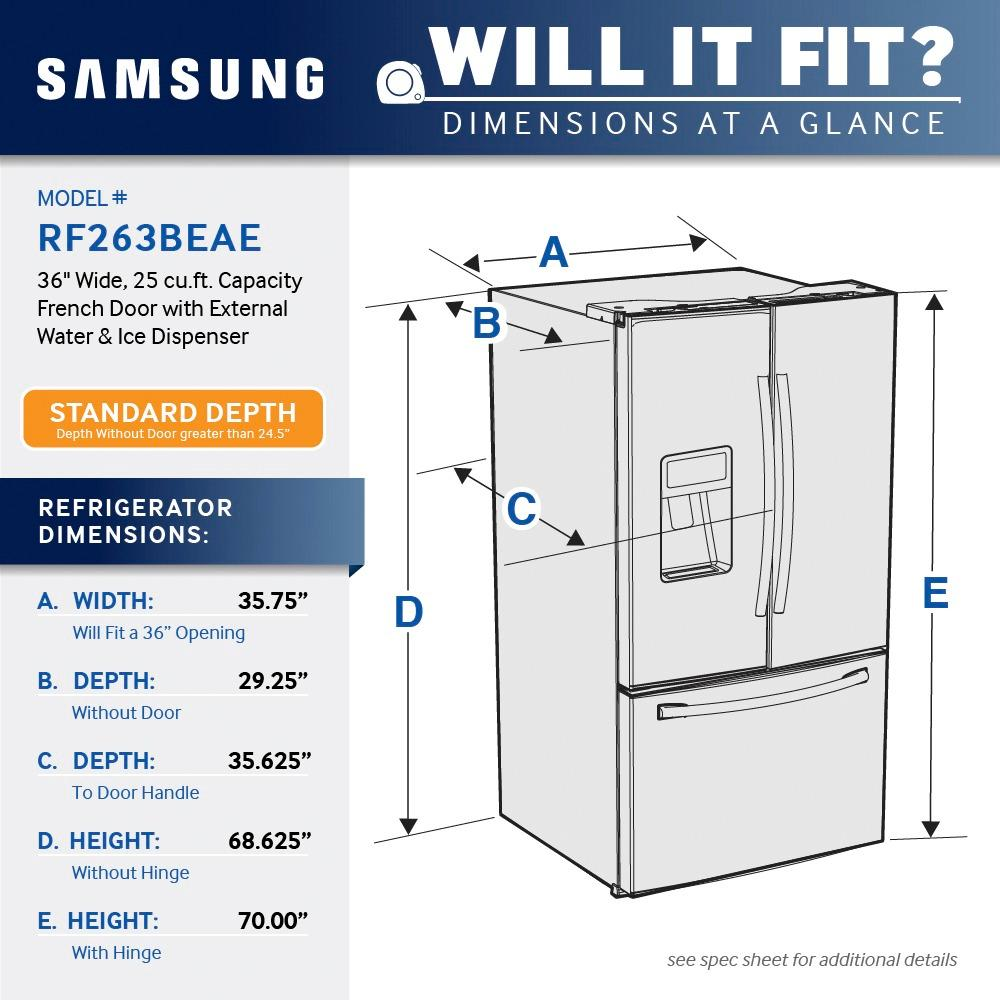 medium resolution of samsung 24 6 cu ft french door refrigerator with thru the door ice and water stainless steel rf263beaesr best buy