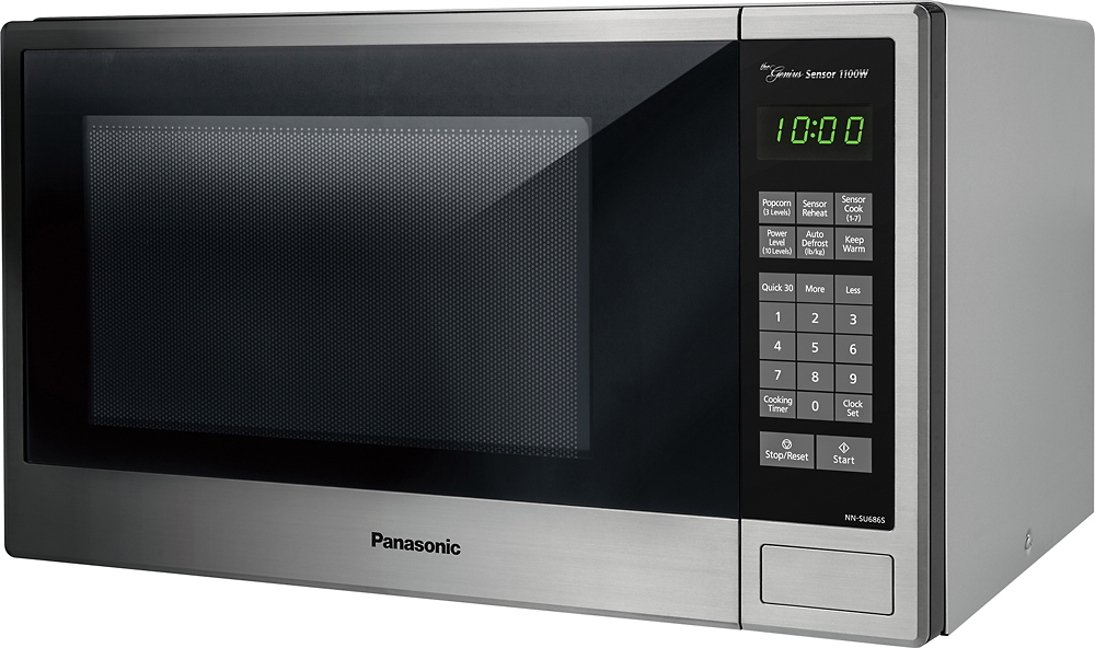 panasonic 1 3 cu ft mid size microwave stainless steel black silver