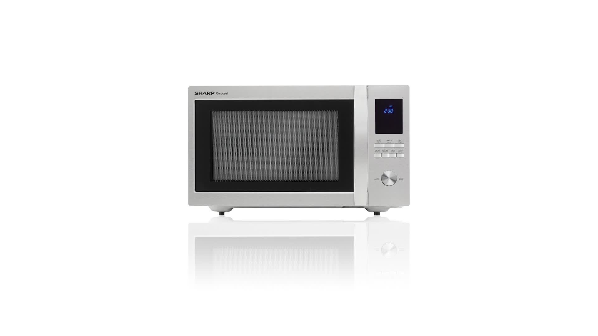 sharp 1 6 cu ft family size microwave stainless steel