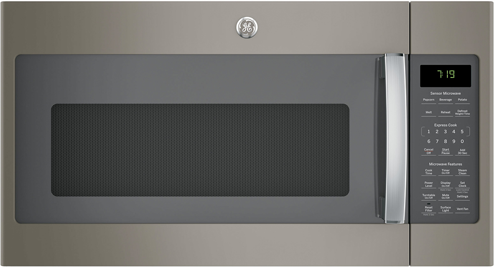 ge 1 9 cu ft over the range microwave with sensor cooking slate