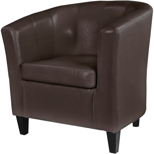tub chair brown leather 6 dining set corliving antonio lad 725 c best buy front standard