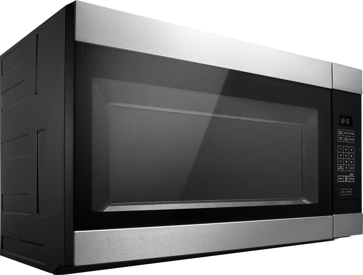 amana 1 6 cu ft over the range microwave black on stainless