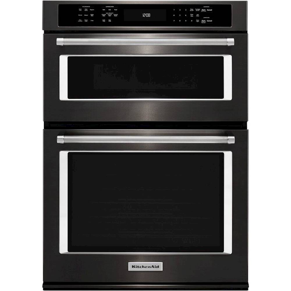 kitchenaid 27 combination electric convection wall oven with built in microwave black stainless steel