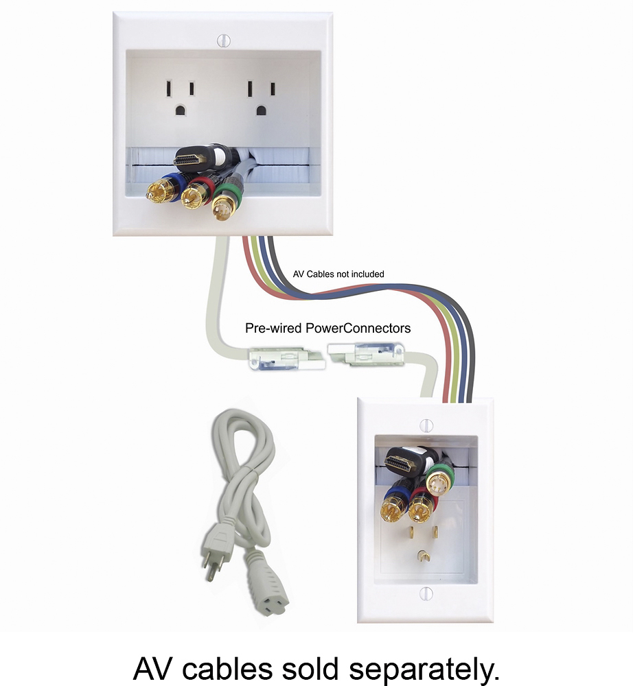 PowerBridge In-Wall Power and Cable Management White 2