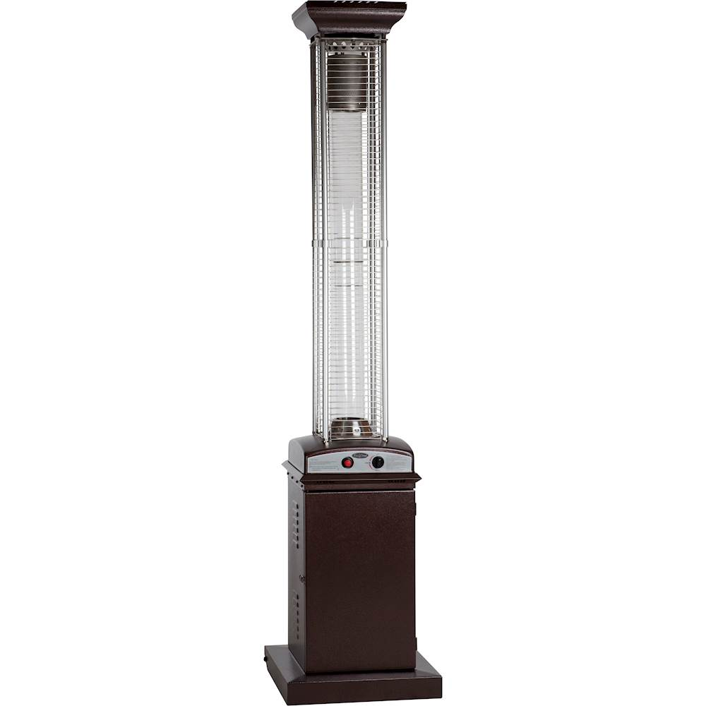 fire sense square flame gas patio heater hammered bronze