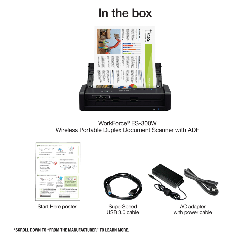 Epson Workforce ES-300W Wireless Duplex Mobile Document