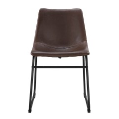 Faux Leather Dining Chairs How Much To Rent Chair Covers For Wedding Walker Edison Wasatch Set Of 2 Brown