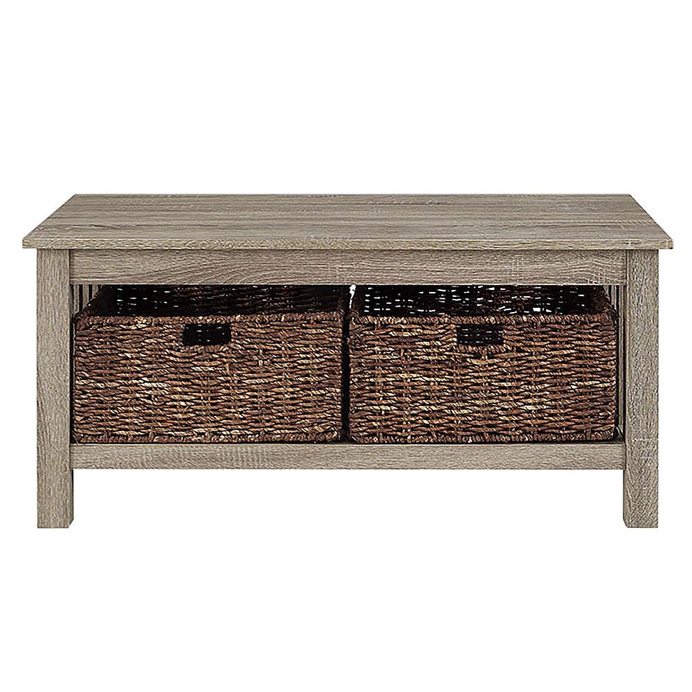 walker edison coffee table with wicker storage baskets driftwood