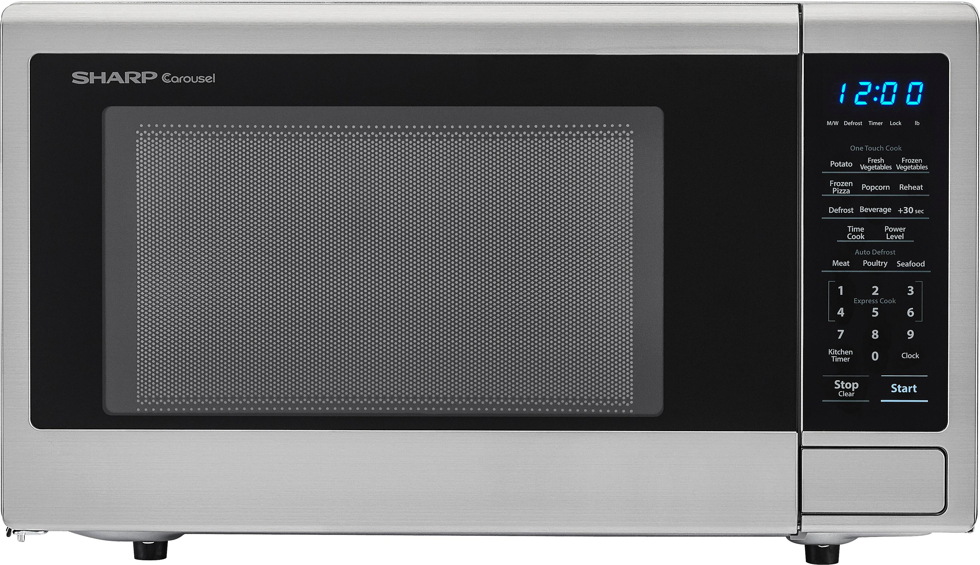 sharp carousel 1 1 cu ft mid size microwave stainless steel
