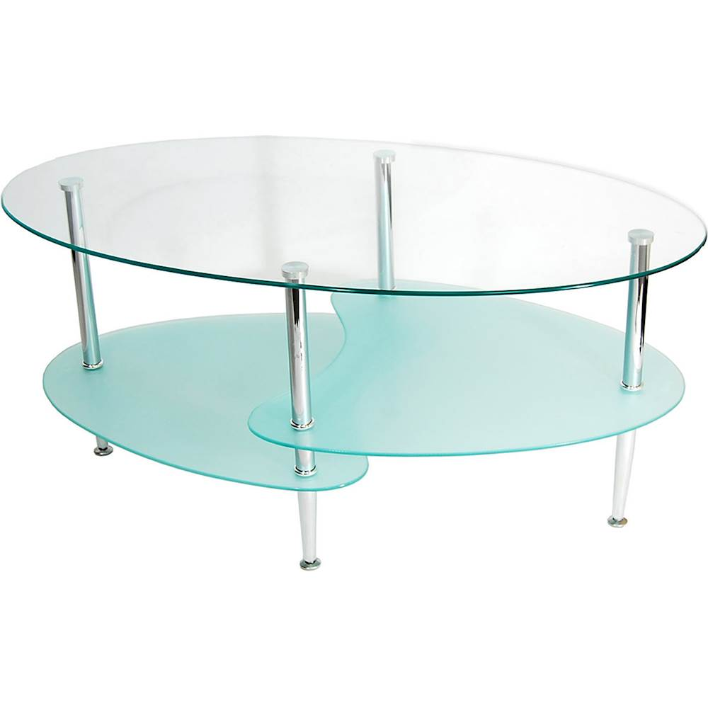 walker edison wave modern metal and glass coffee table clear