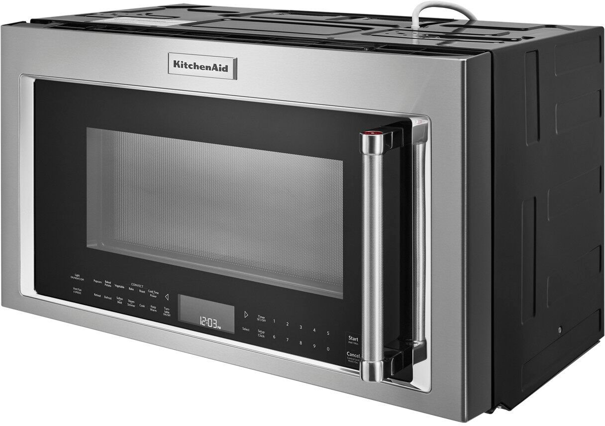 kitchenaid 1 9 cu ft convection over the range microwave with sensor cooking stainless steel