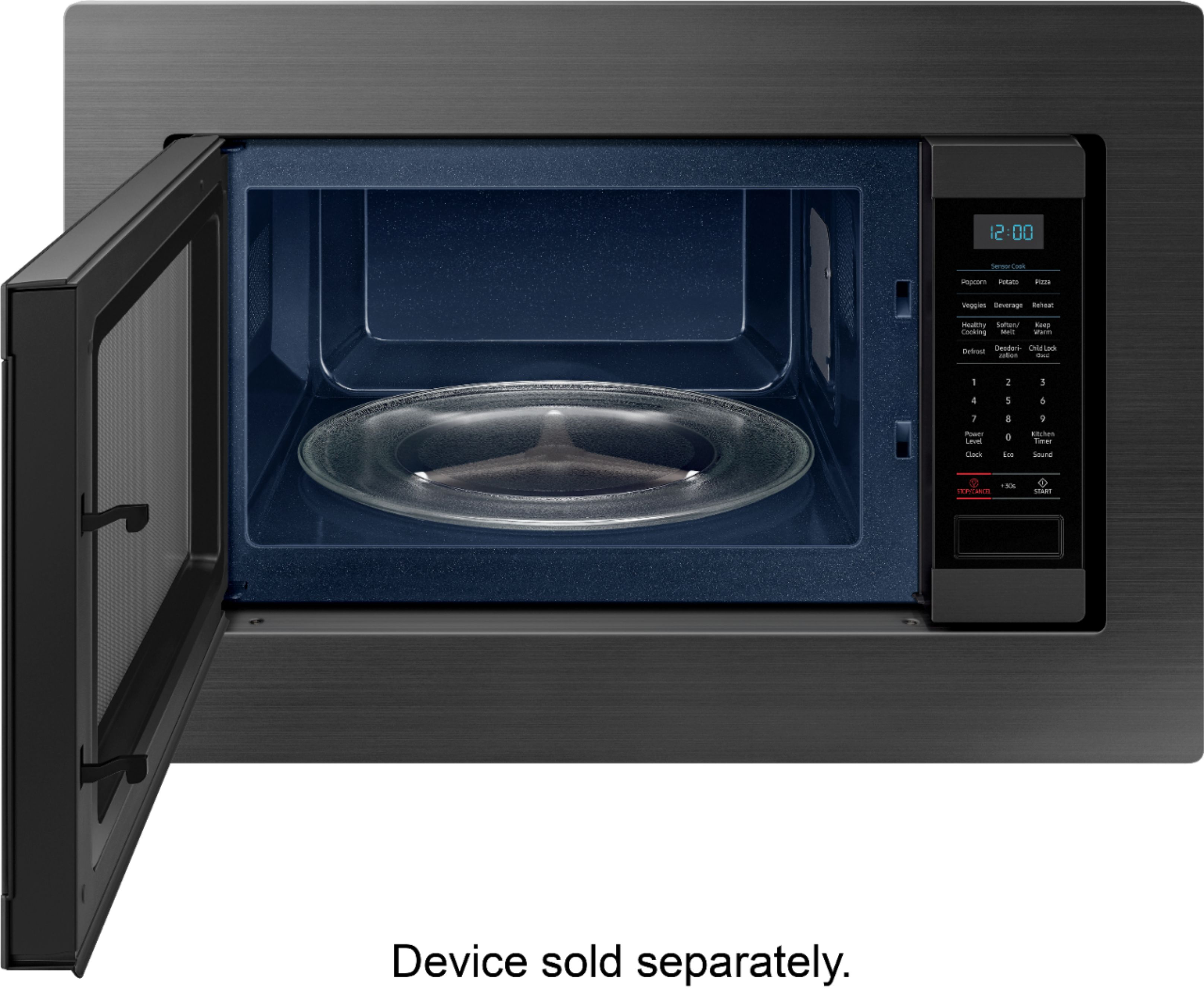 samsung 1 9 cu ft countertop microwave for built in applications with sensor cook fingerprint resistant black stainless steel