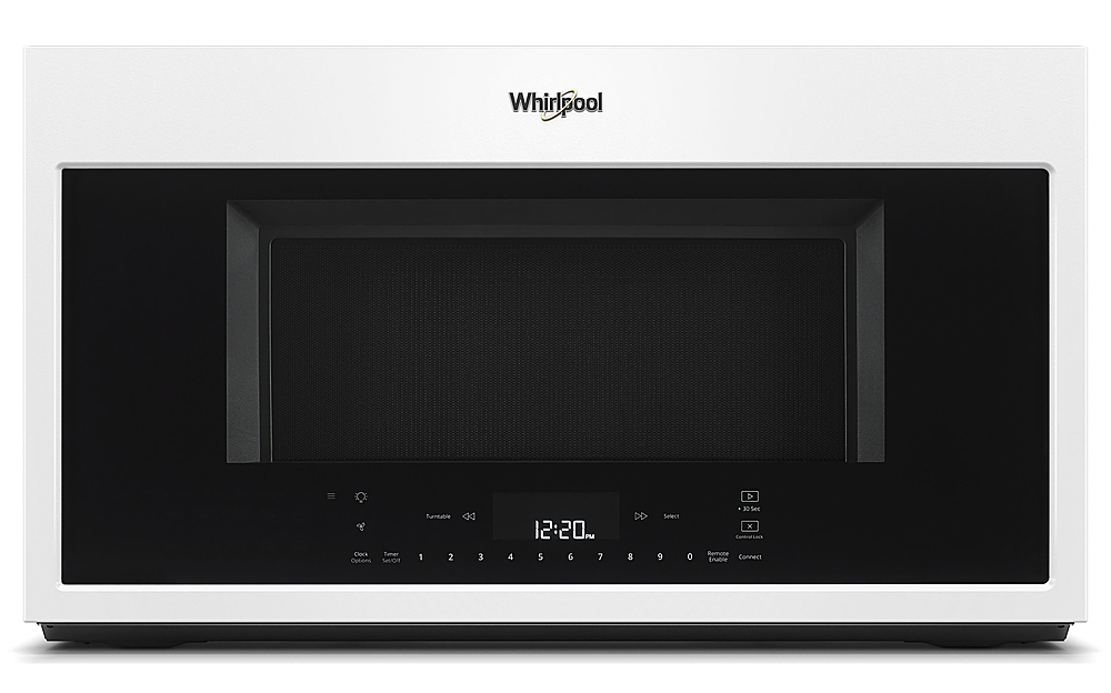 whirlpool 1 9 cu ft convection over the range microwave with sensor cooking white