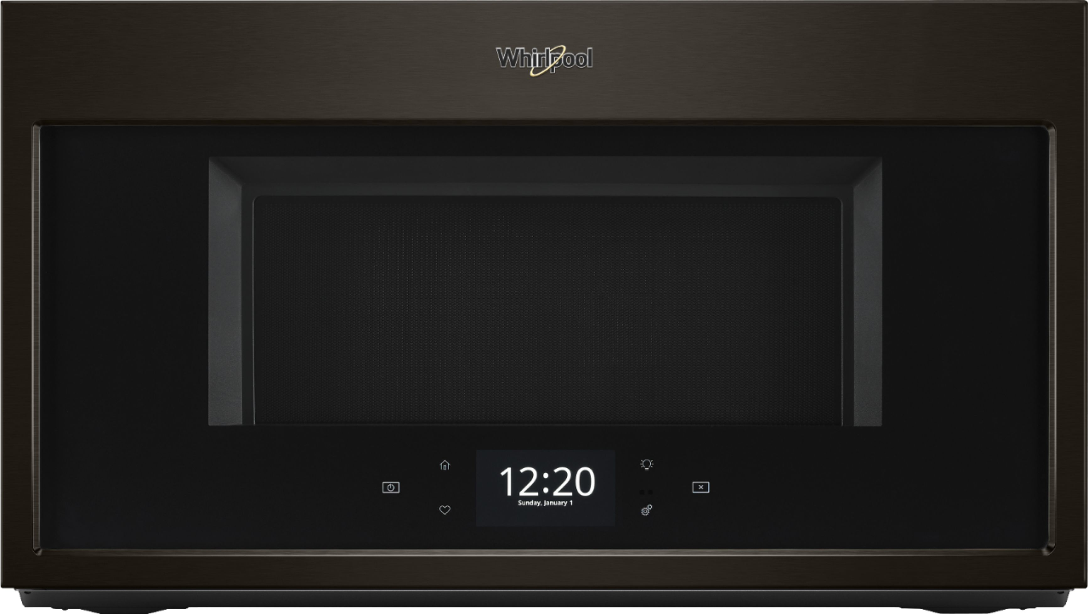 whirlpool 1 9 cu ft convection over the range microwave black stainless steel