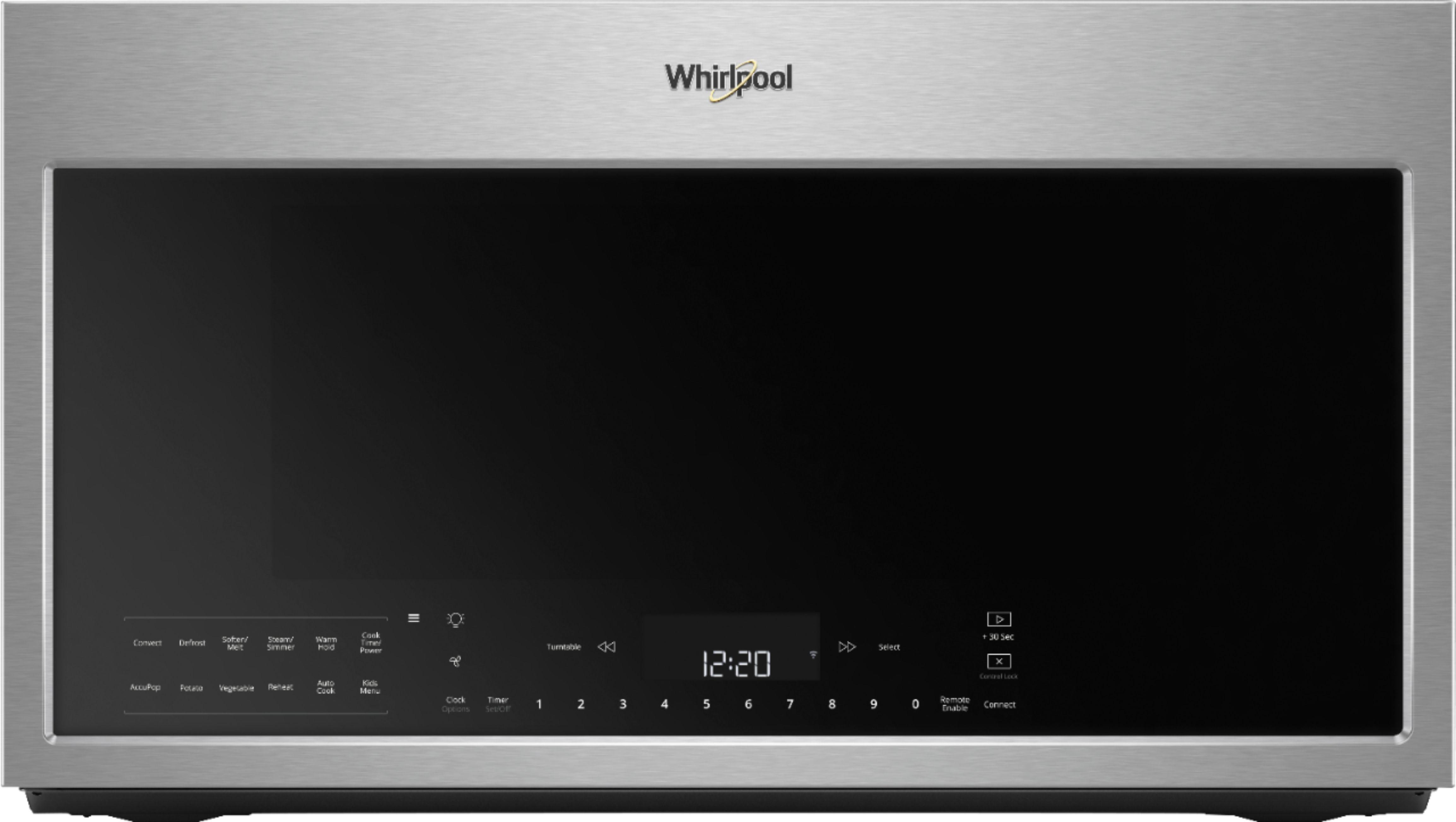 whirlpool 1 9 cu ft convection over the range fingerprint resistant microwave with sensor cooking stainless steel fingerprint resistant
