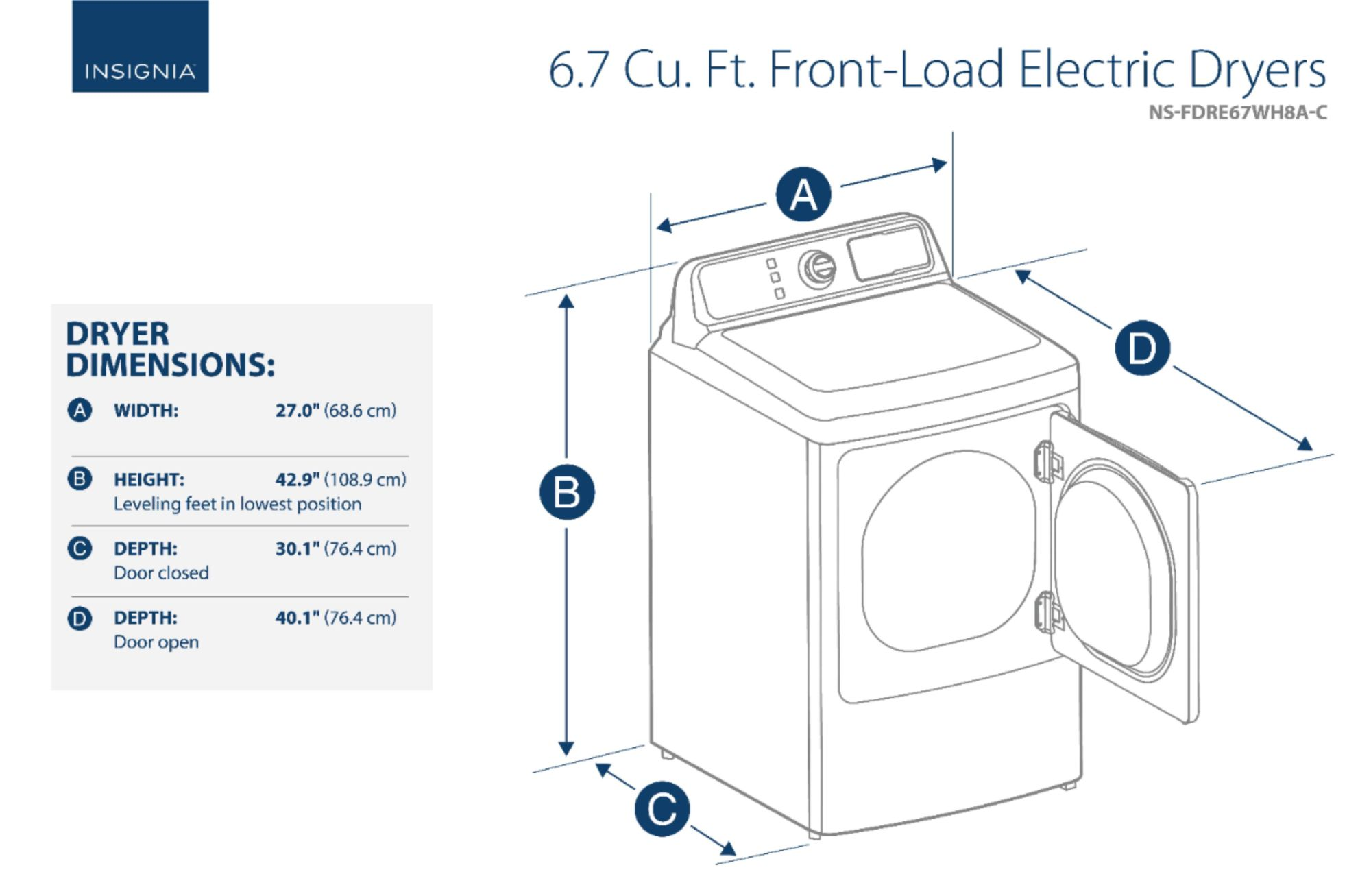 hight resolution of ft 10 cycle electric dryer white ns fdre67wh8a best buy
