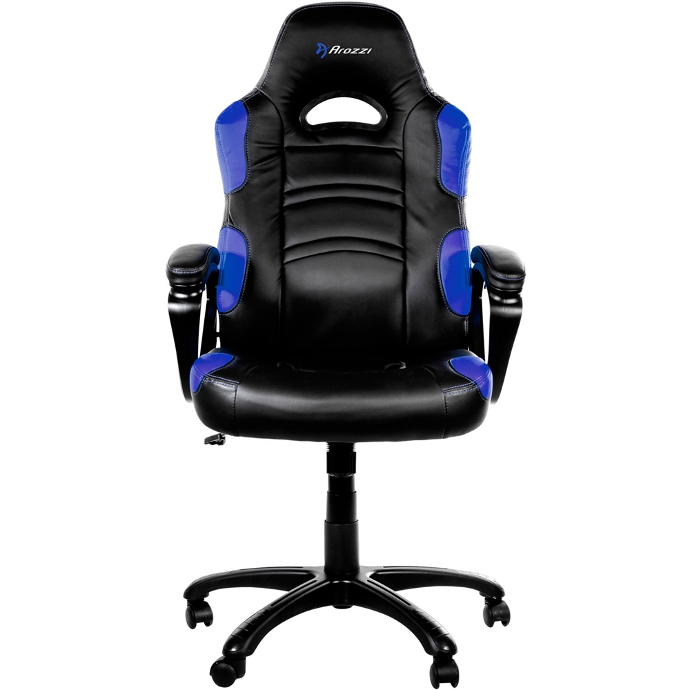 video game chair with cup holder diy roman gaming chairs best buy arozzi 5 pointed star polyurethane leather office blue front zoom