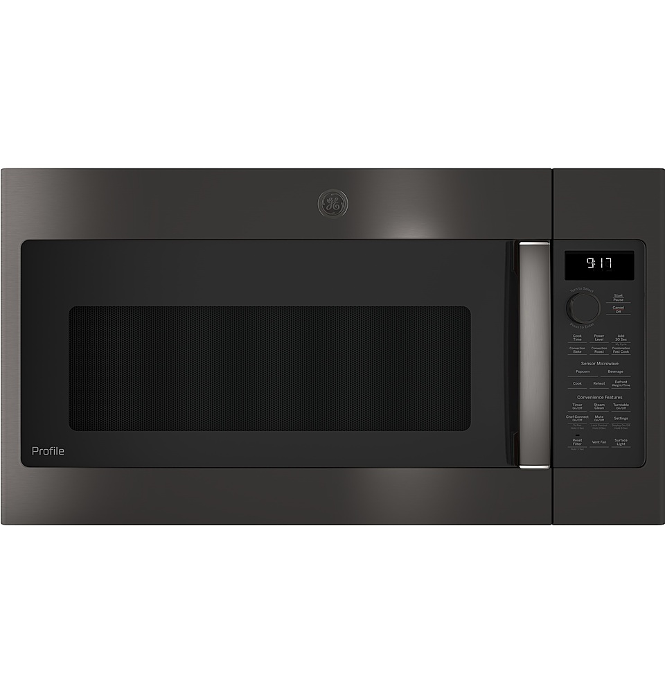 ge profile 1 7 cu ft convection over the range microwave black stainless steel