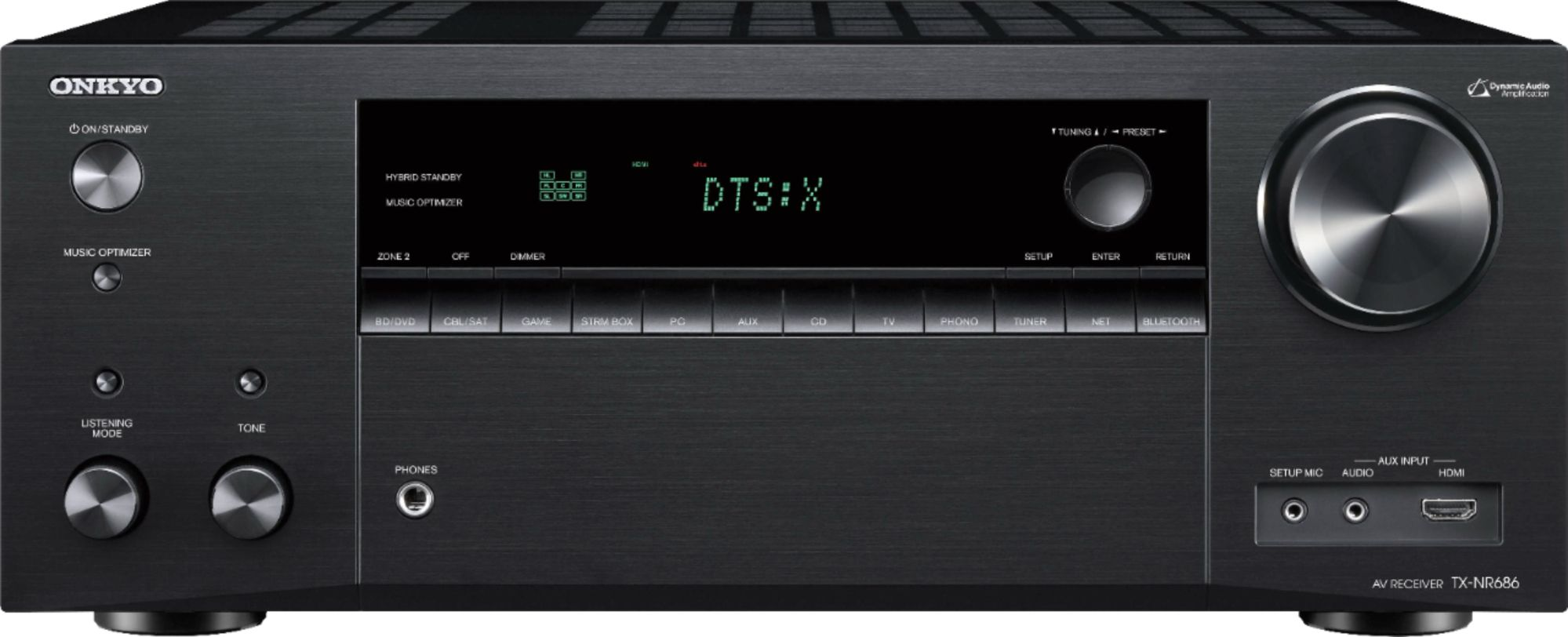 hight resolution of onkyo tx 7 2 ch hi res 4k hdr compatible a v home theater receiver black tx nr686 best buy