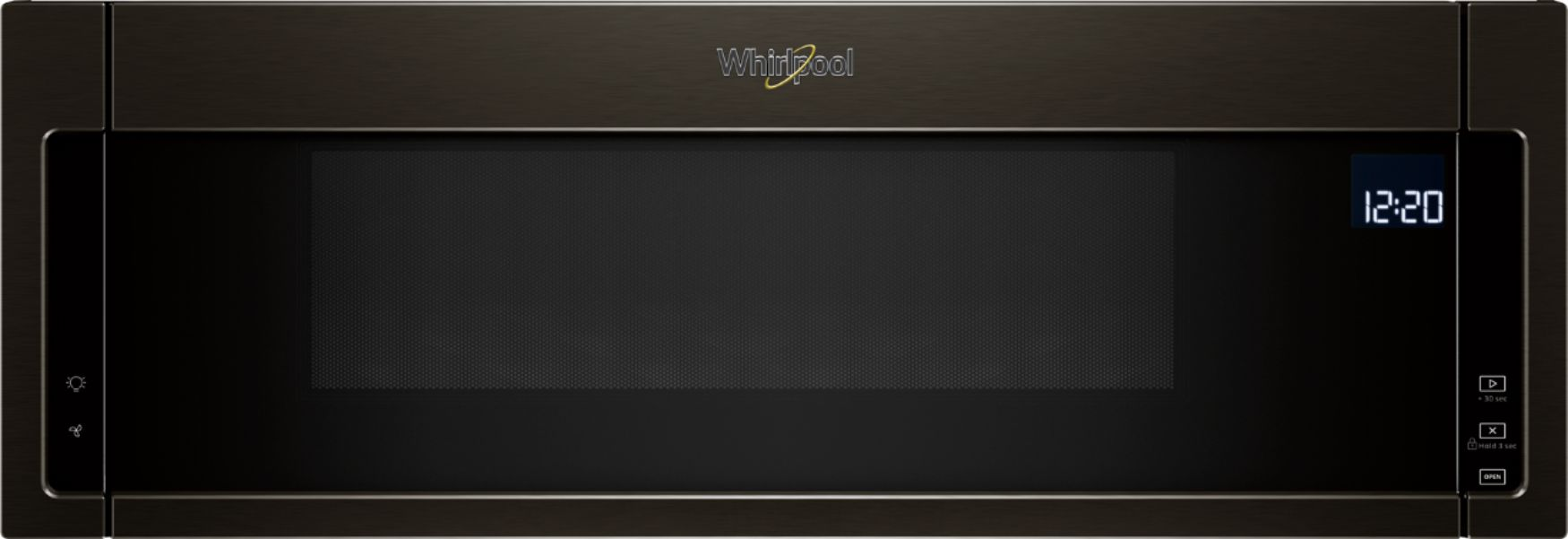 whirlpool 1 1 cu ft low profile over the range microwave hood combination black stainless steel