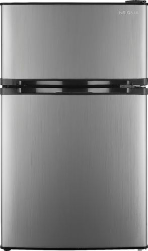 Insignia™ - 3.0 Cu. Ft. Mini Fridge with Top Freezer - Stainless steel