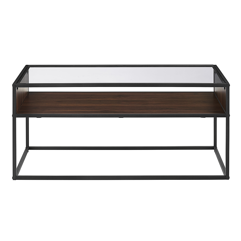 walker edison rustic glass coffee table dark walnut
