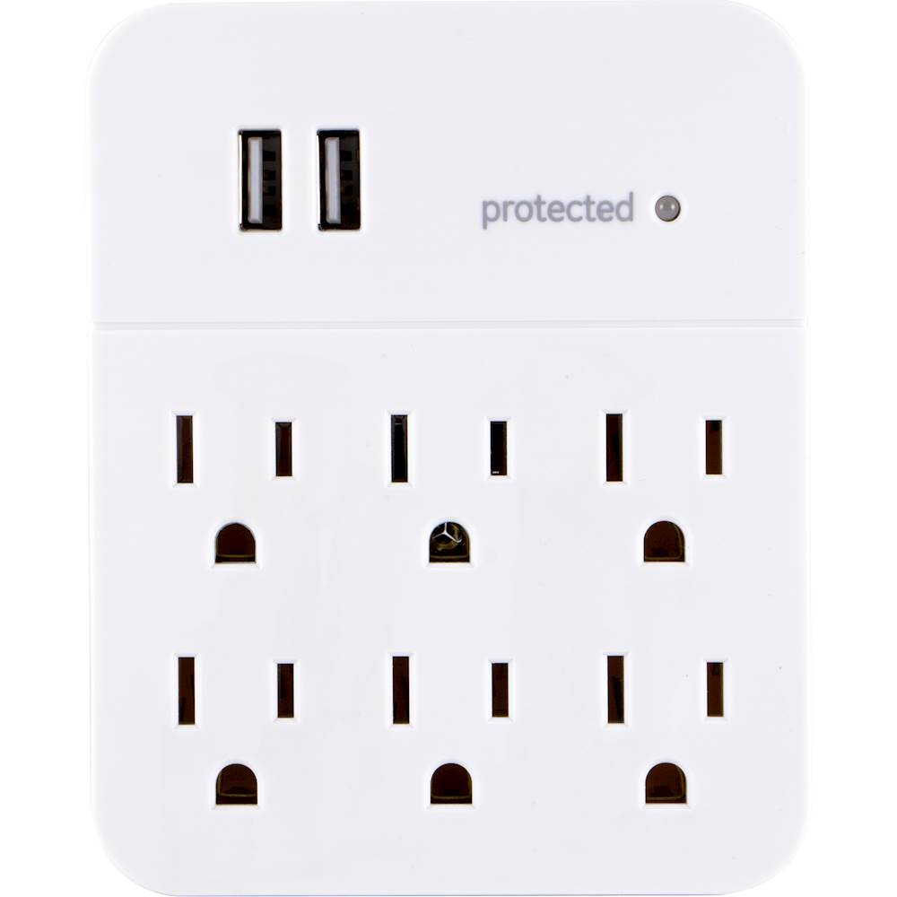 GE 6-Outlet/2-USB Wall Tap Surge Protector White 36735