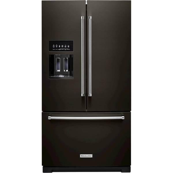 Kitchenaid 27 Cu. Ft. French Door Refrigerator Black Stainless Steel Krff507hbs