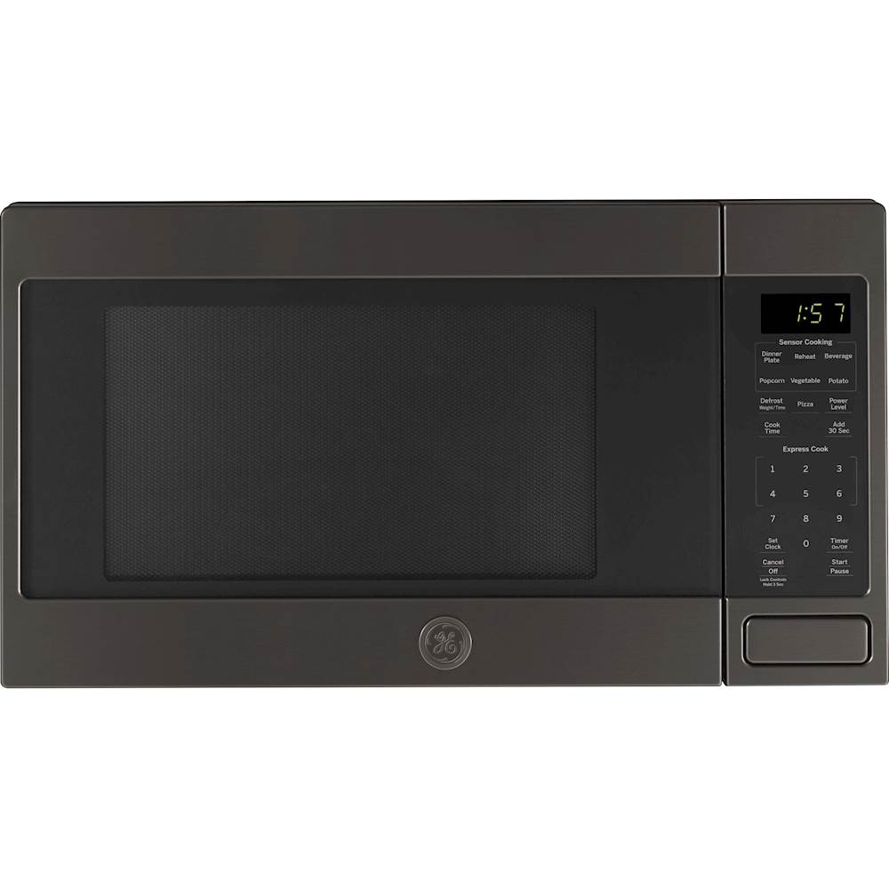 ge 1 6 cu ft microwave black stainless steel