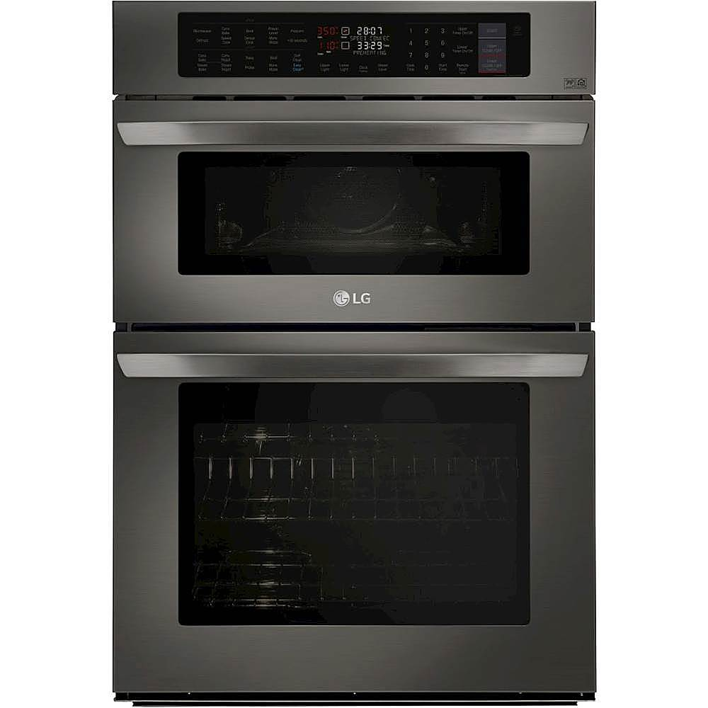 lg 30 combination double electric convection wall oven with built in microwave infrared heating and wifi black stainless steel
