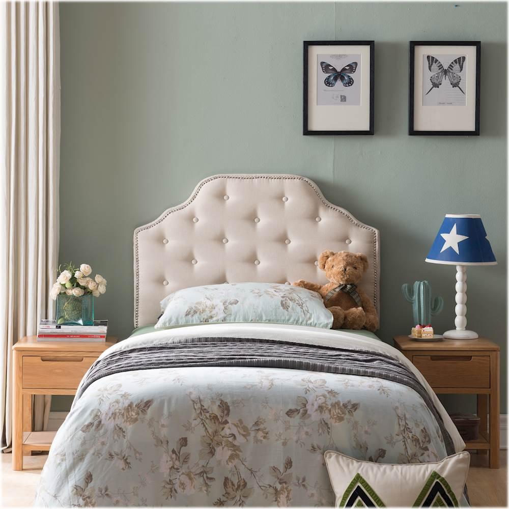 noble house burton 42 twin size upholstered headboard beige