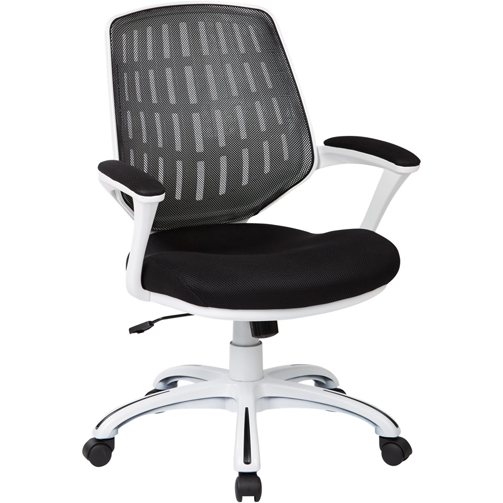 ergonomic chair for home office bicycle exercise machine chairs best buy avesix calvin 5 pointed star nylon and mesh black white frame