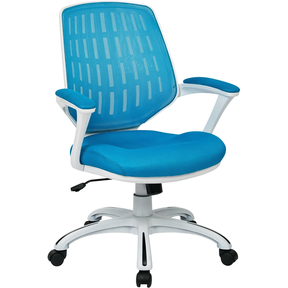desk chair best buy unfinished dining chairs ergonomic office avesix calvin 5 pointed star nylon and mesh blue white frame