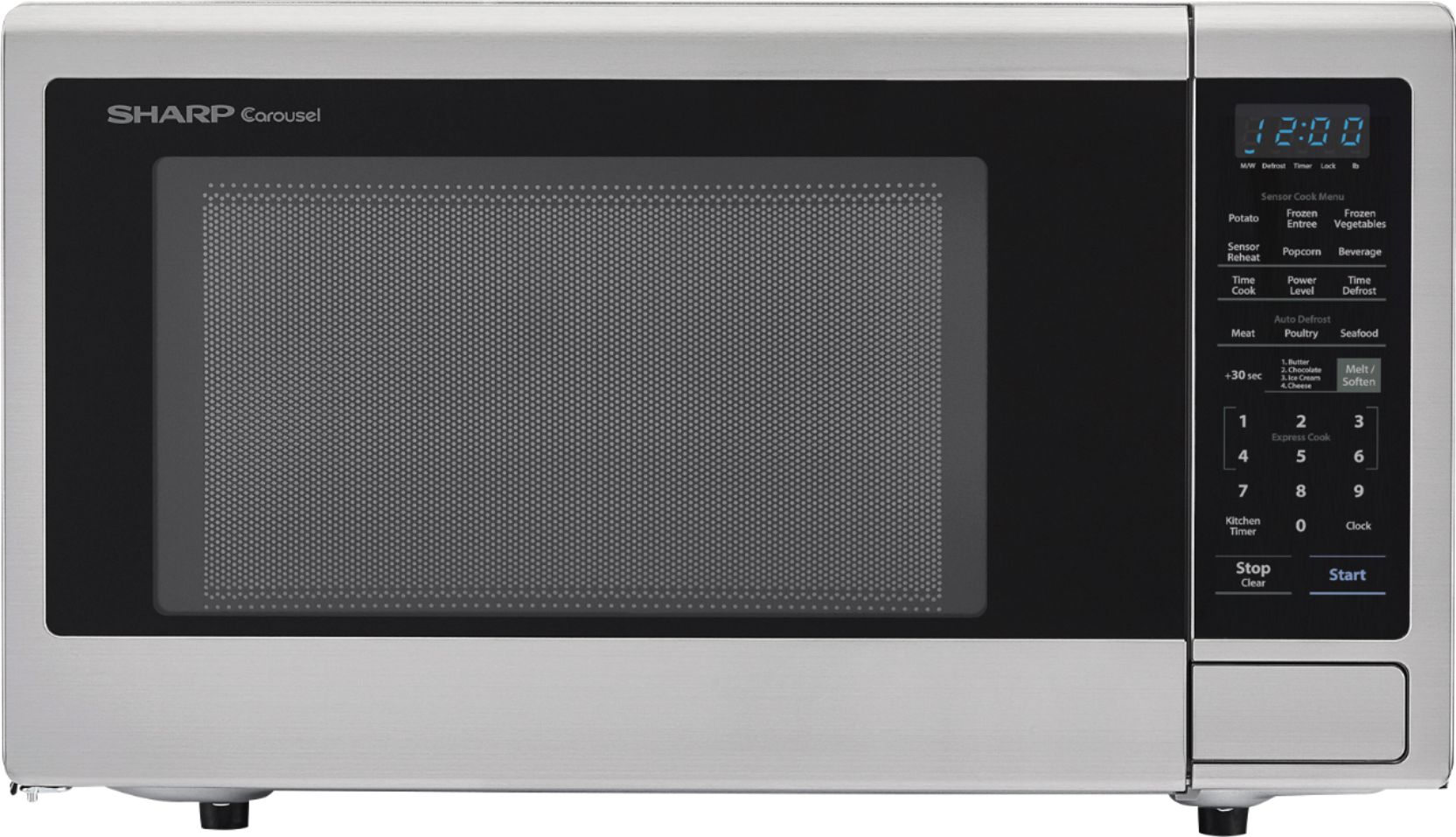 sharp carousel 2 2 cu ft microwave with sensor cooking stainless steel