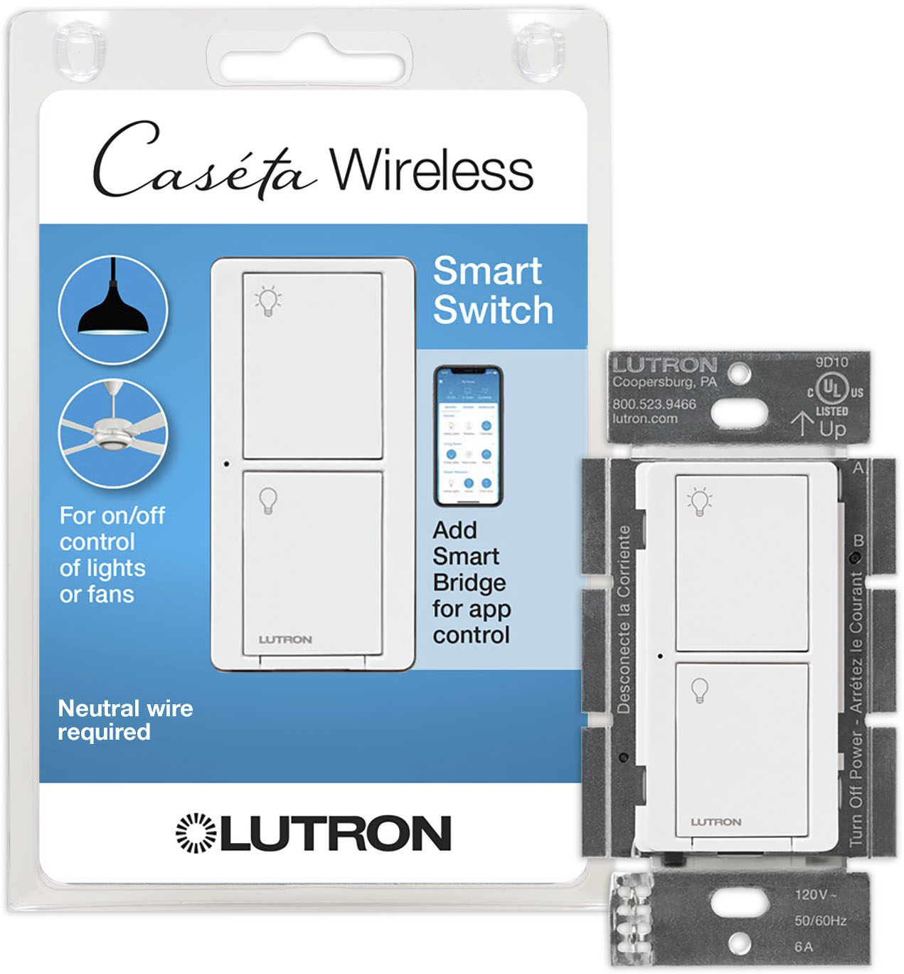 lutron caseta wireless smart lighting switch white