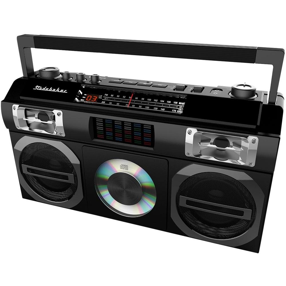 medium resolution of studebaker master blaster cd rw cd r cd da boombox with am fm radio black sb2149b best buy
